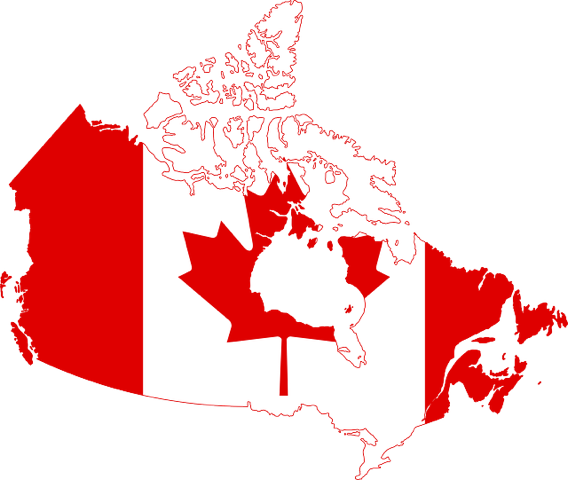 Map of Canada with flag inset