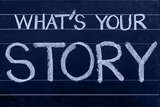 Chalk board: What's your Story?